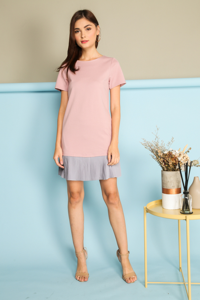 *BACKORDER* Calandra Pleated Hem Dress in Pink