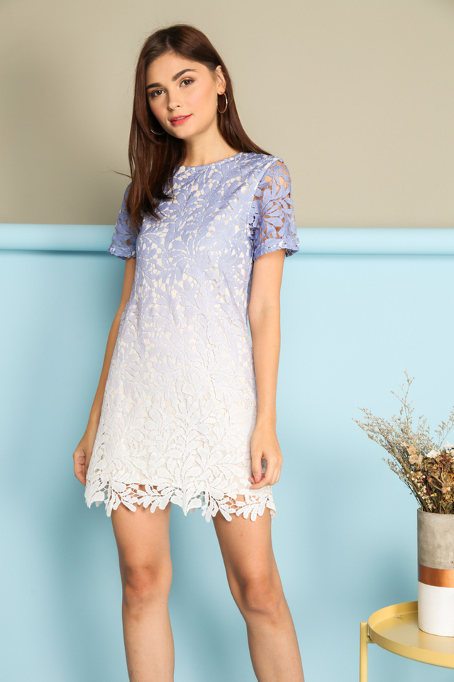 *BACKORDER* Alessia Ombre Crochet Dress in Periwinkle