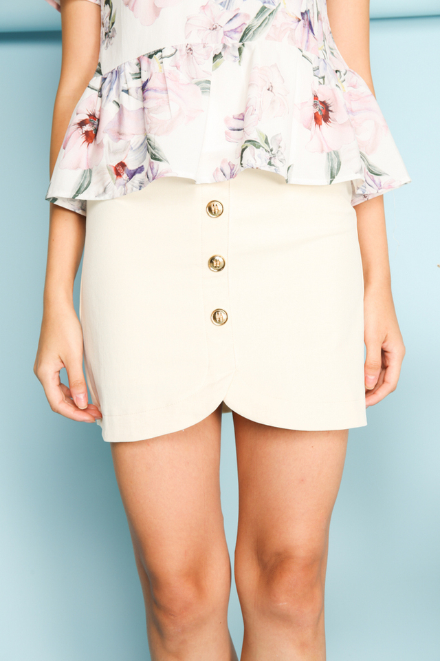 Carrie Military Button Skirt in Cream