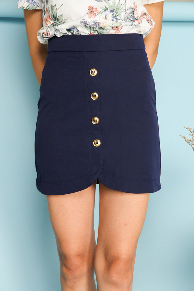 Carrie Military Button Skirt in Navy