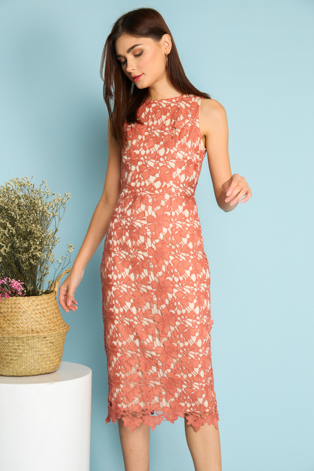Sofia Midi Crochet Dress in Terracotta (L)