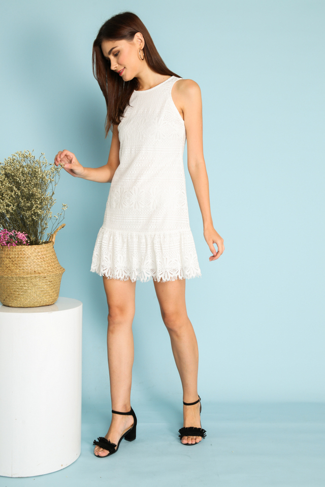 Tazia Lace Dropwaist Dress in White