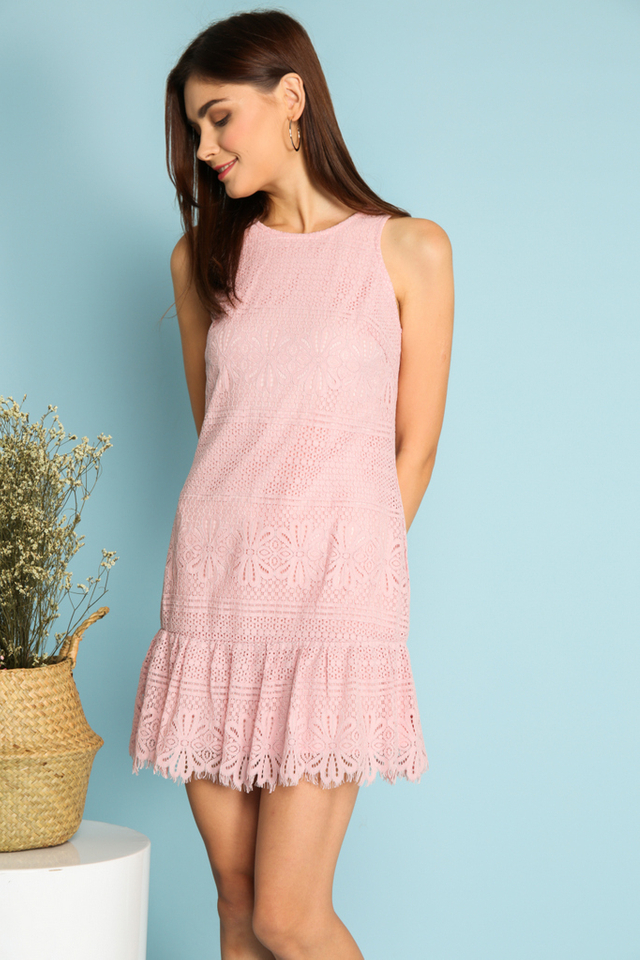 Tazia Lace Dropwaist Dress in Pink (S)