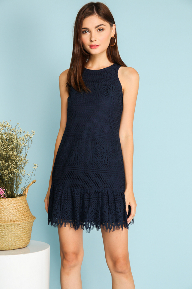 Tazia Lace Dropwaist Dress in Navy