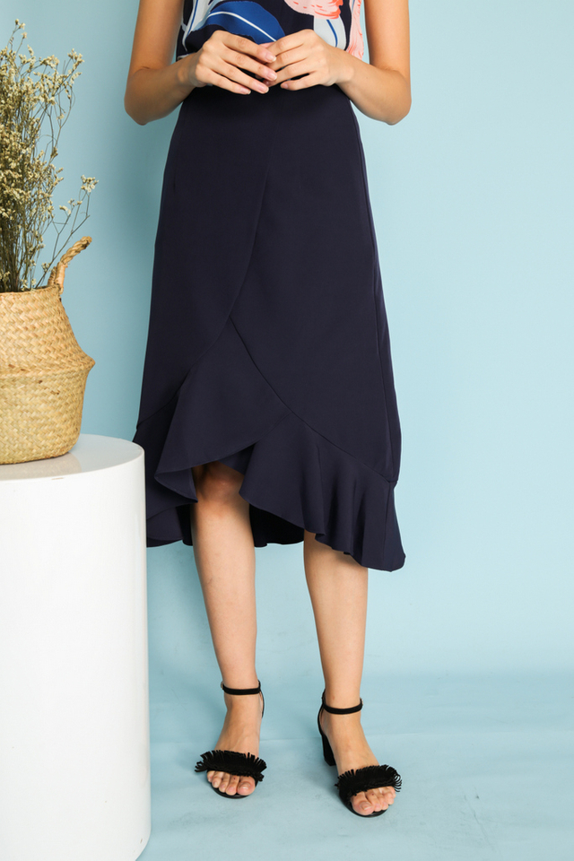 Serena Asymmetrical Ruffled Midi Skirt in Navy