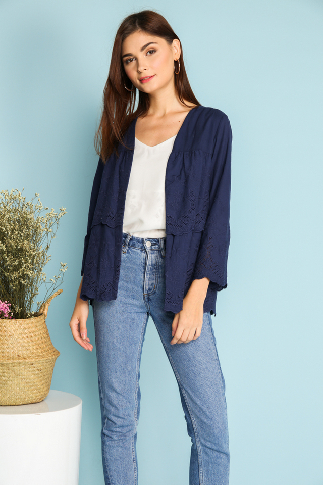 Camilla Eyelet Cardigan in Navy