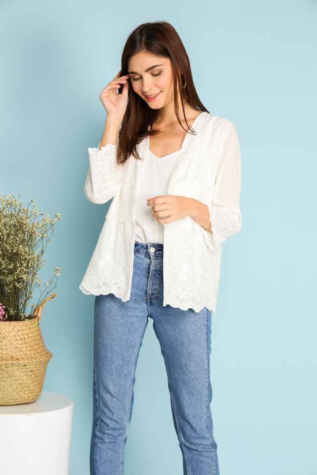 Camilla Eyelet Cardigan in White