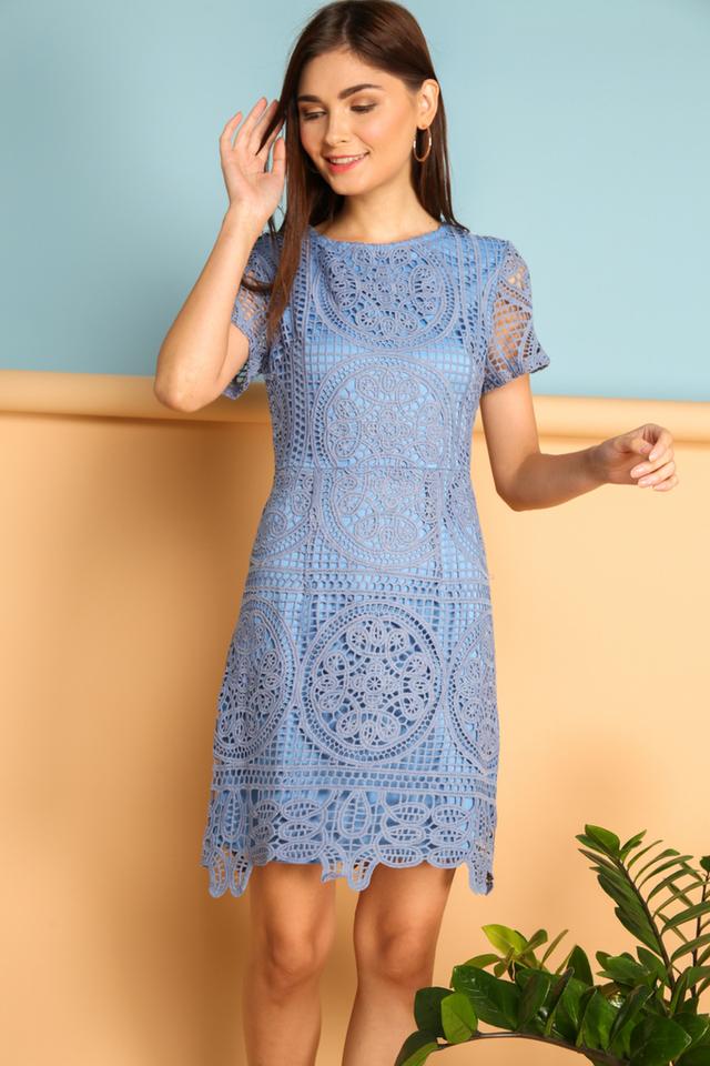 Adela Crochet Dress in Blue (XS)