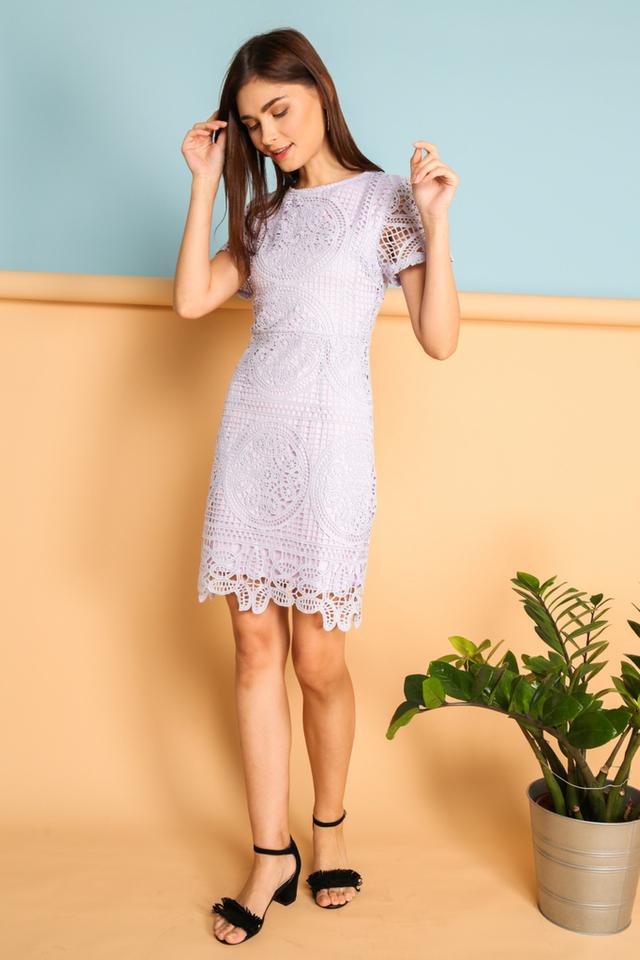 Adela Crochet Dress in Lilac