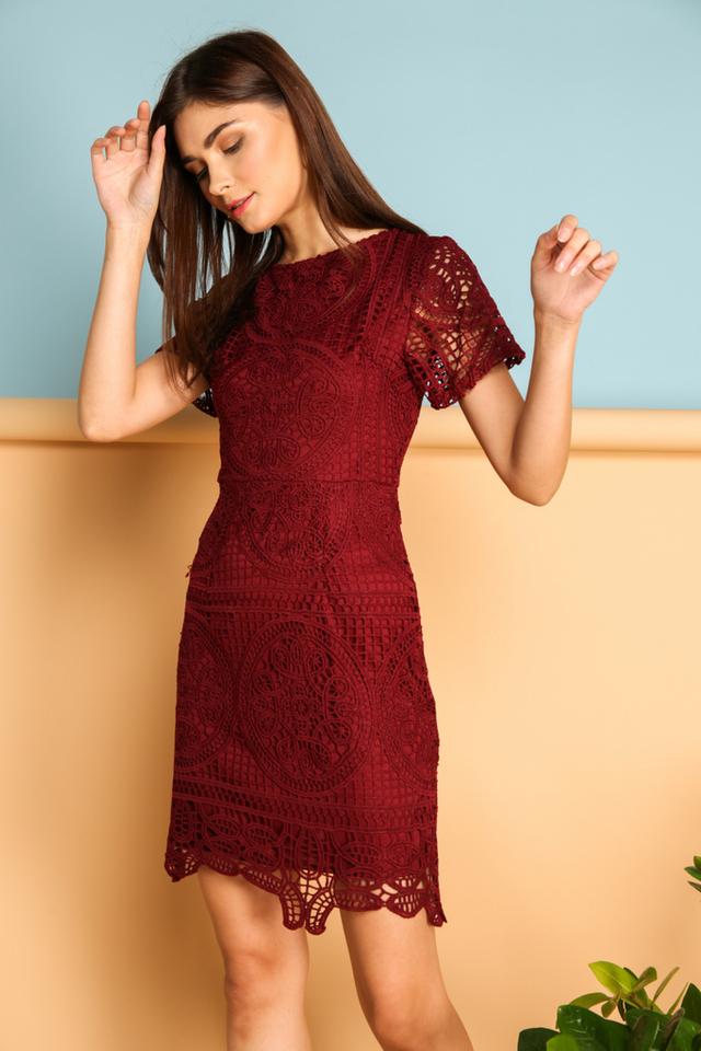 Adela Crochet Dress in Maroon