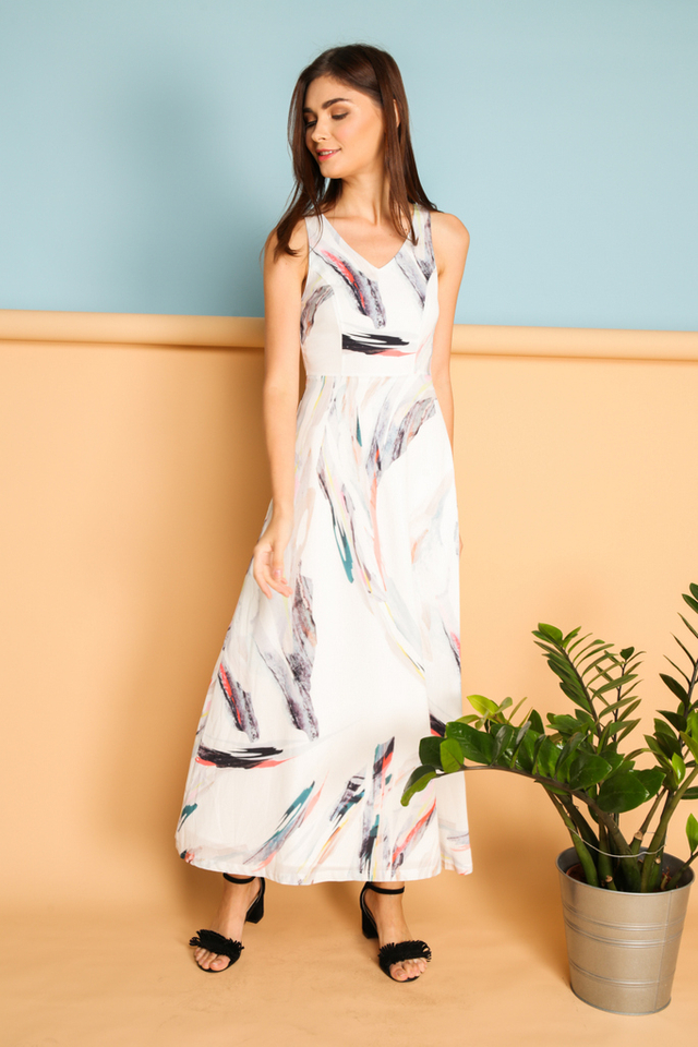 Fulvia Printed Maxi Dress in Watercolour (XL)
