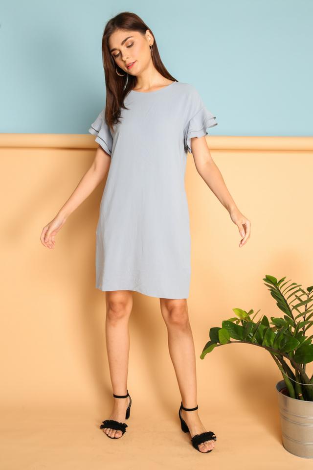 Fia Ruffle Sleeve Dress in Blue