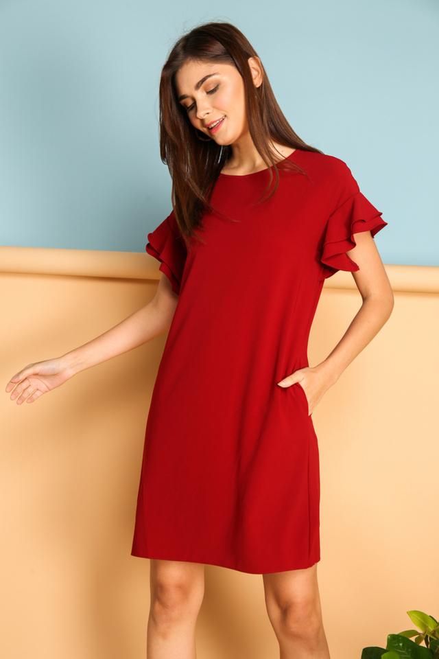 Fia Ruffle Sleeve Dress in Red (S)