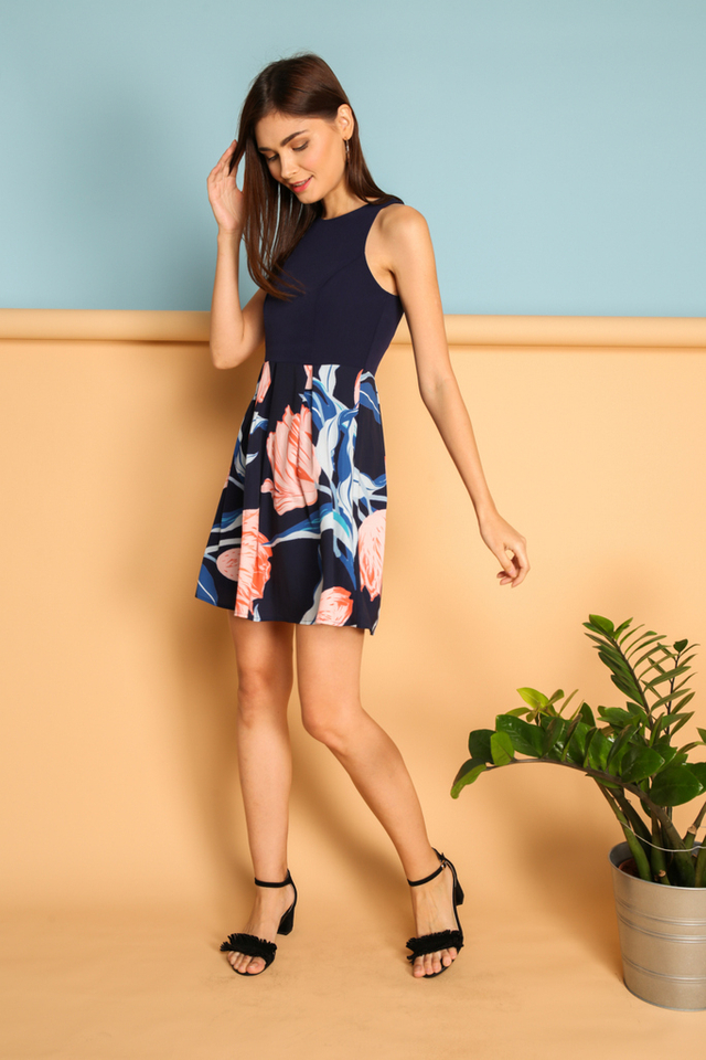 Ailie Floral Pleated Dress in Navy Blue