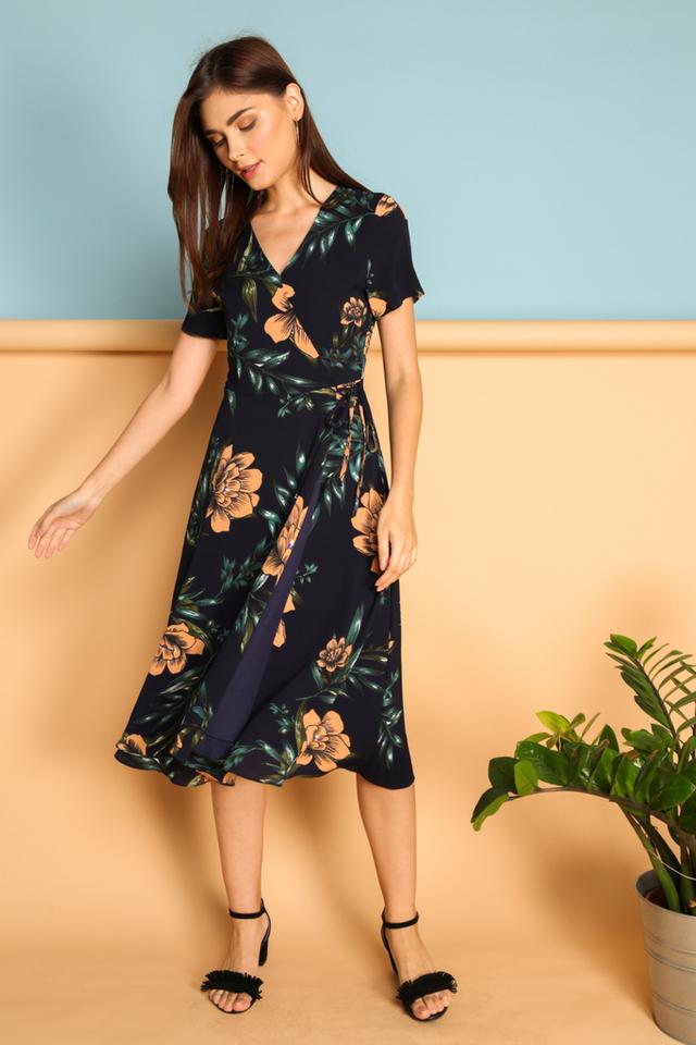 *BACKORDER* Joslyn Faux Wrap Midi Dress in Navy Blue