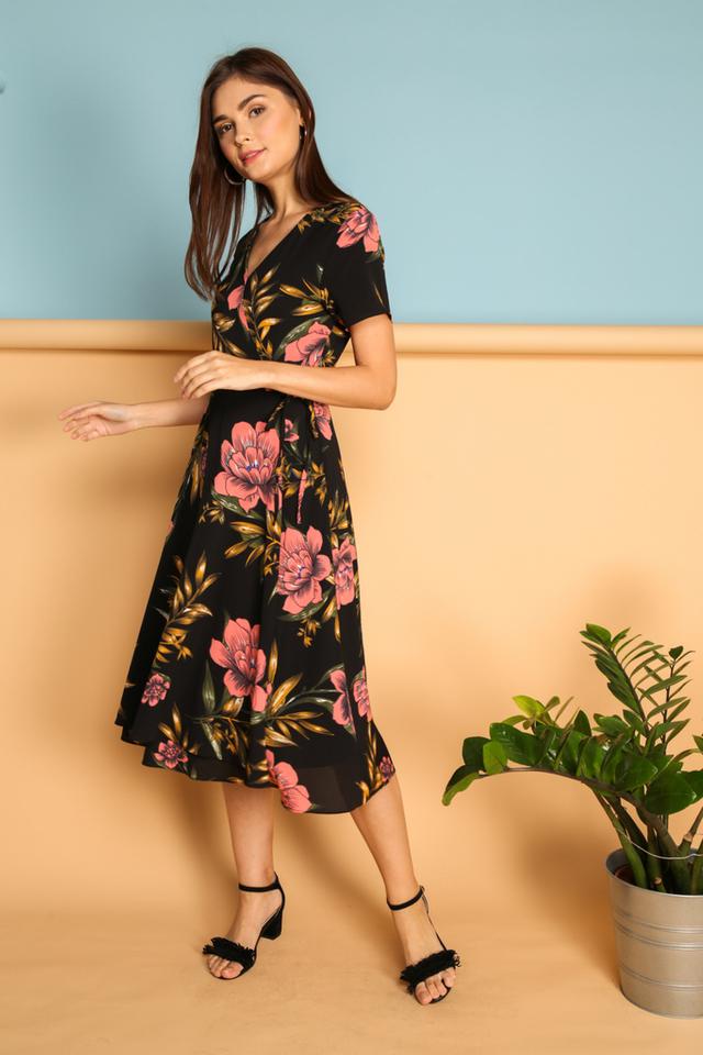 Joslyn Faux Wrap Midi Dress in Black