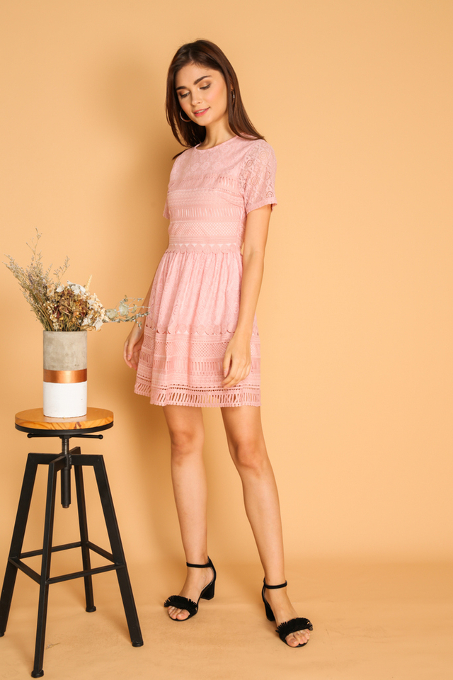 *BACKORDER* Lela Textured Lace Dress in Pink