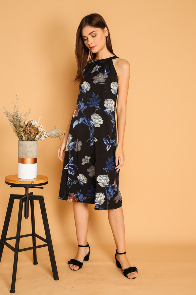 Marille Tie Back Halter Midi Dress in Black