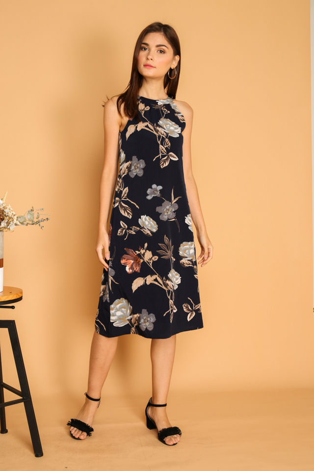 Marille Tie Back Halter Midi Dress in Navy Blue (L)