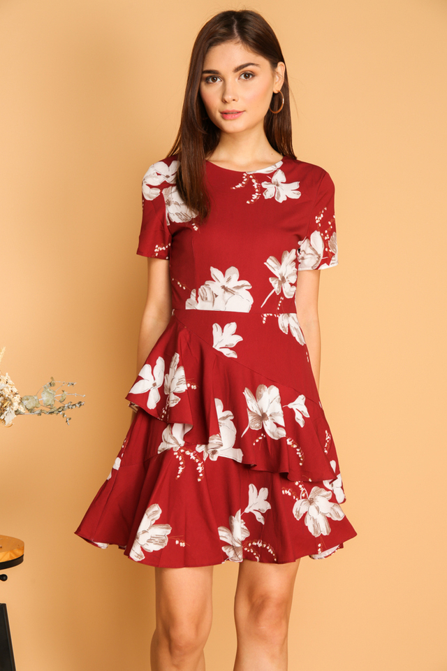 Nora Double Tier Ruffle Hem Dress in Red