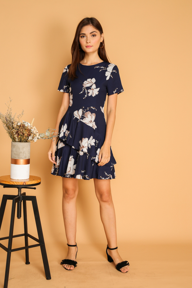 *BACKORDER* Nora Double Tier Ruffle Hem Dress in Navy