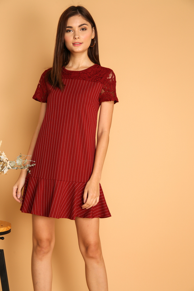 Debra Lace Dropwaist Dress in Wine Red (XS)