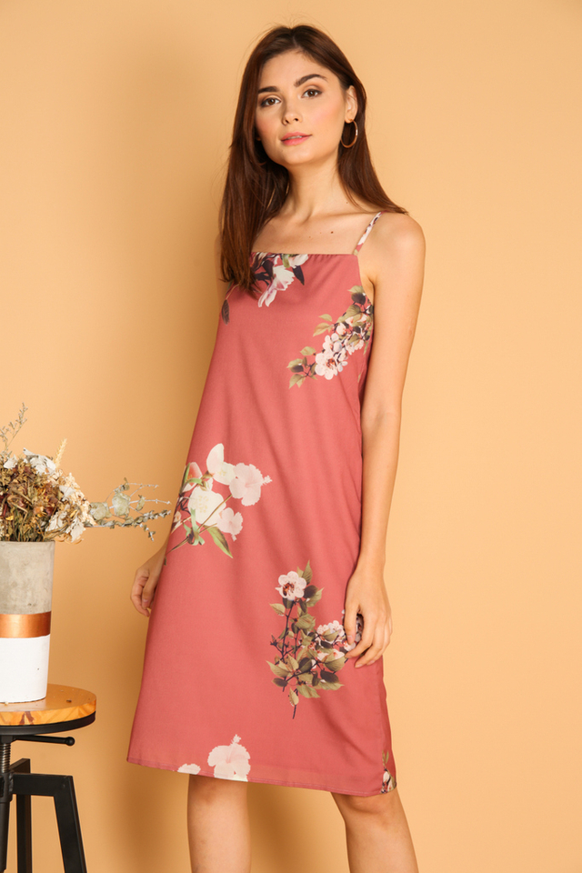 Roselyn Floral Slip On Dress in Coral Pink