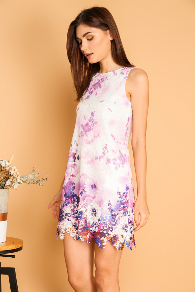 *BACKORDER* Tristen Flower Crochet Hem Dress in Purple