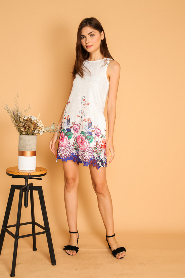 Tristen Flower Crochet Hem Dress in White