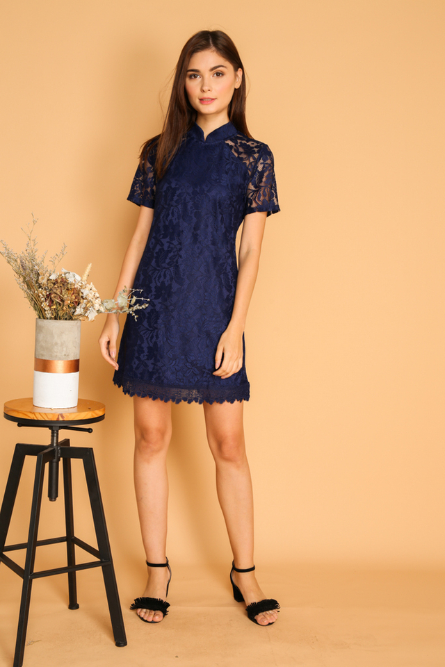 Dililah Qipao Lace Dress in Navy