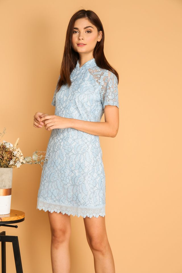 Dililah Qipao Lace Dress in Powder Blue (S)
