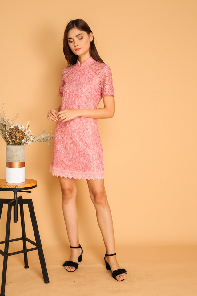 Dililah Qipao Lace Dress in Pink (XS)