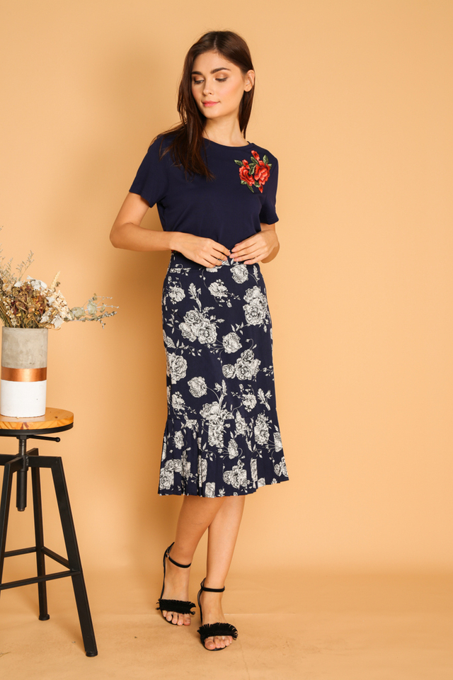 Maura Rose Patch Tee in Navy