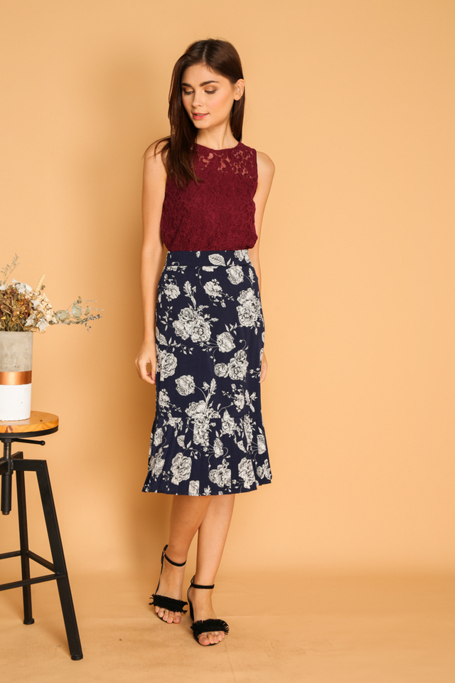 Leola Floral Pleated Midi Skirt in Navy
