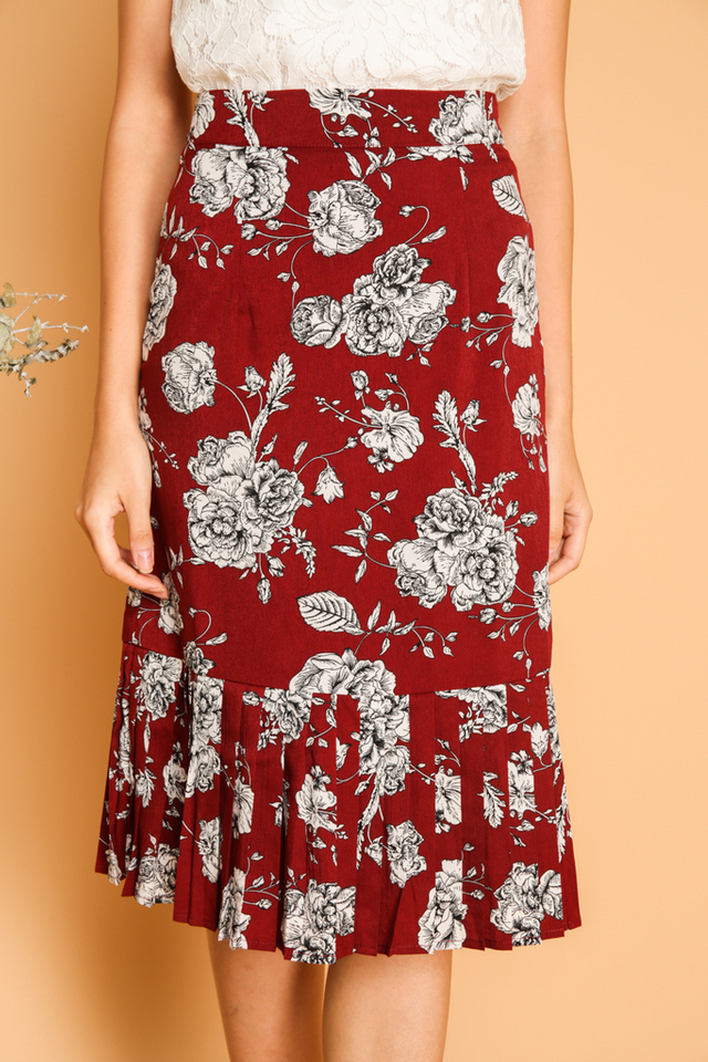 Leola Floral Pleated Midi Skirt in Wine Red