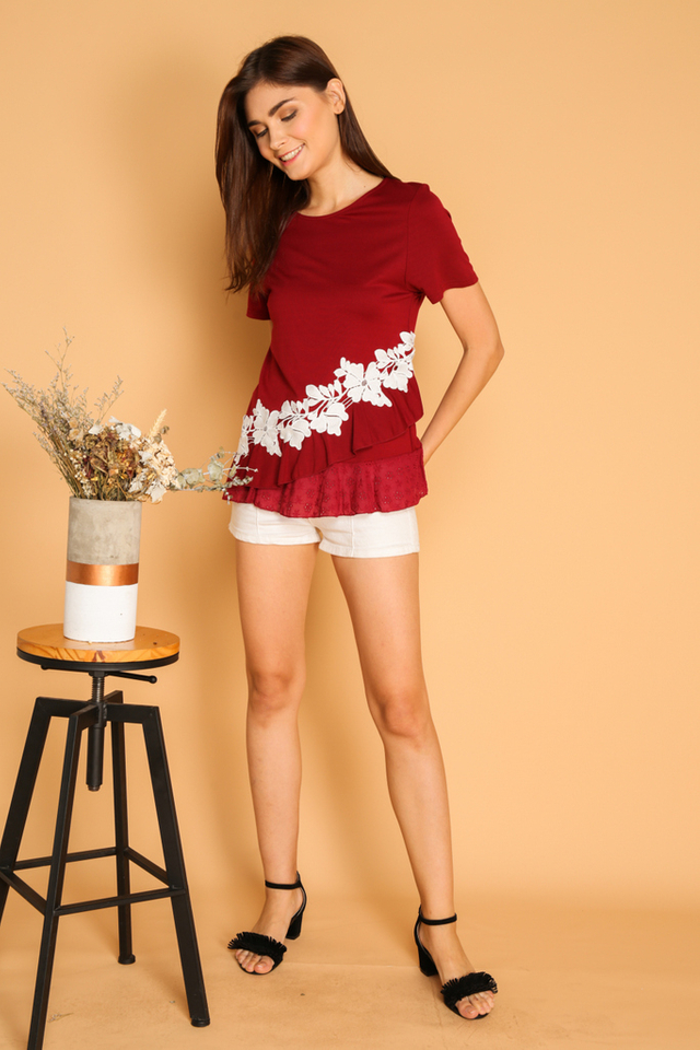 Cavex Asymmetrical Eyelet Top in Red