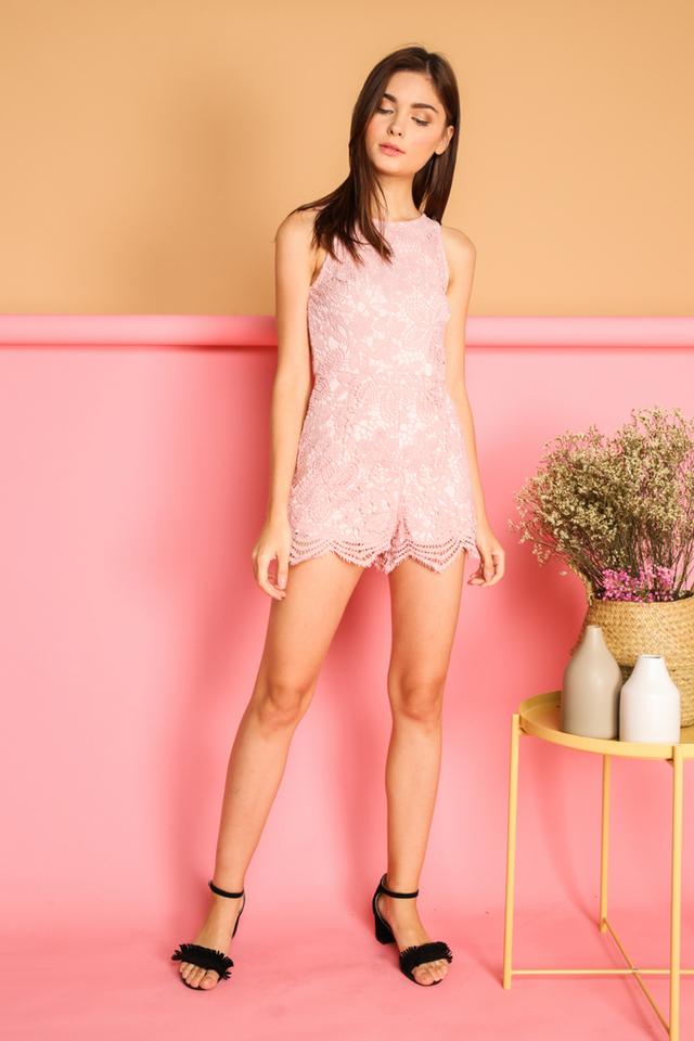 Alandra Crochet Romper in Pink