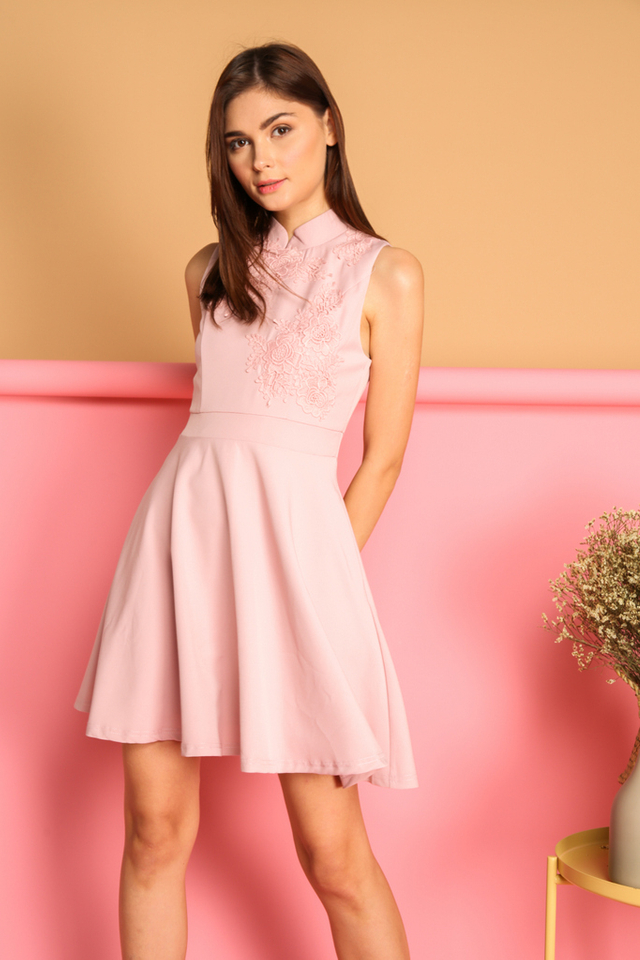 Calinda Oriental Crochet Dress in Pink