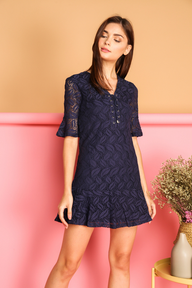 Kadie Lace Up Bell Sleeve Dress in Navy