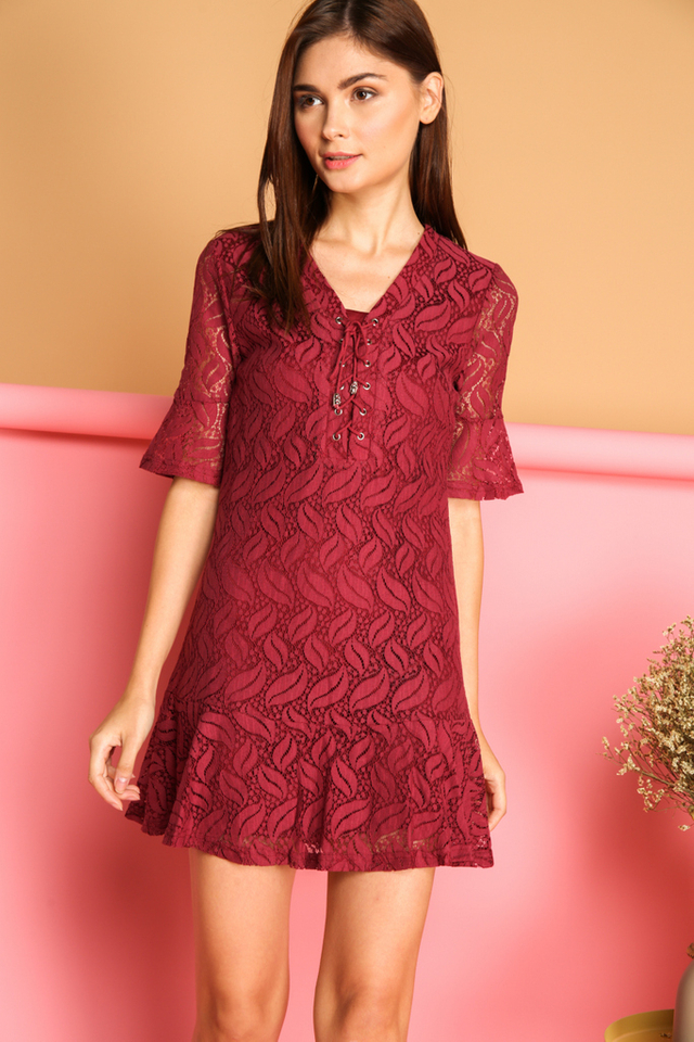 Kadie Lace Up Bell  Sleeve Dress in Maroon