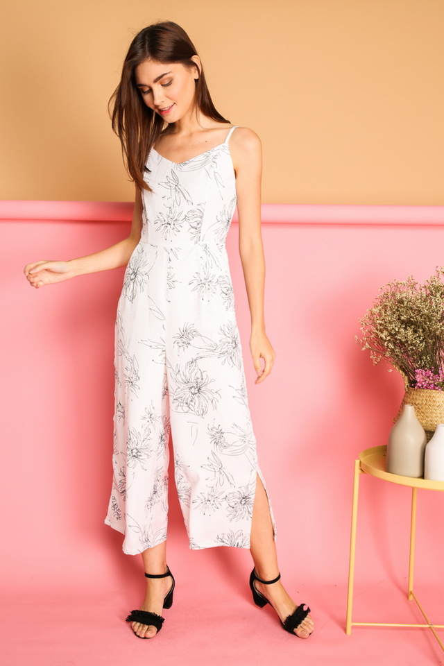 Betsy Floral Calligraphy Jumpsuit in White