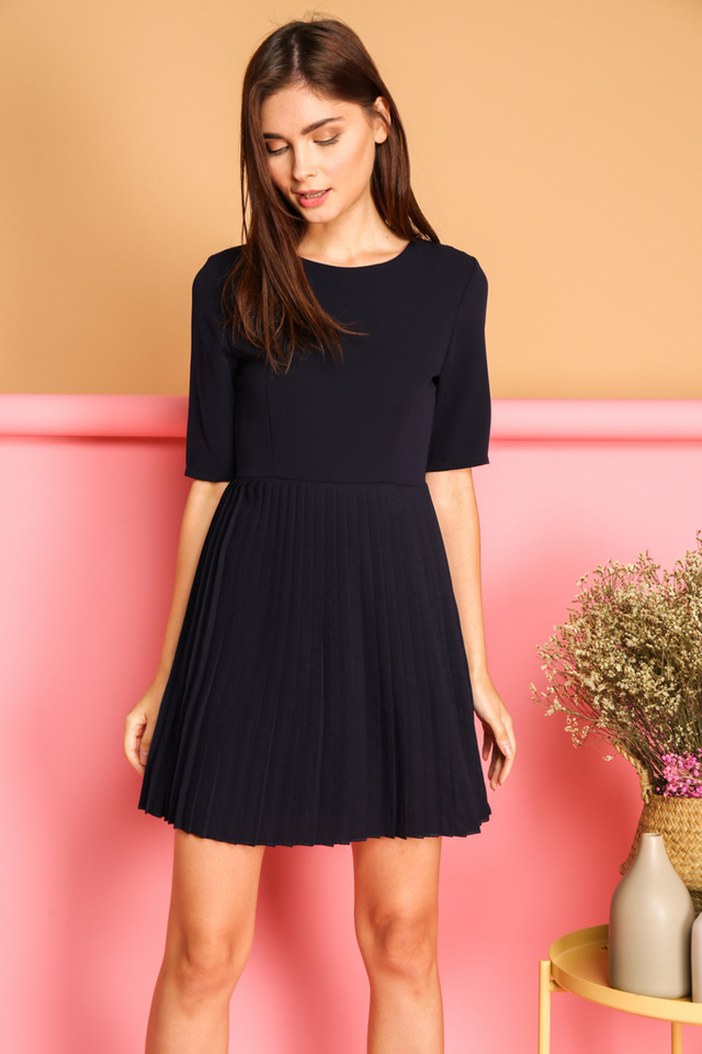 *BACKORDER* Bernadette Pleated Dress in Navy