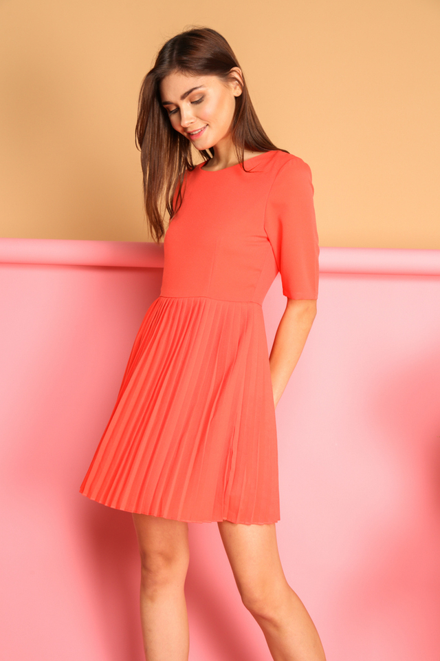 Bernadette Pleated Dress in Tangerine