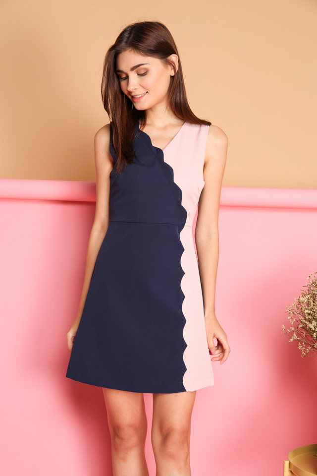 *BACKORDER* Marcie Colourblock Scallop Dress in Navy