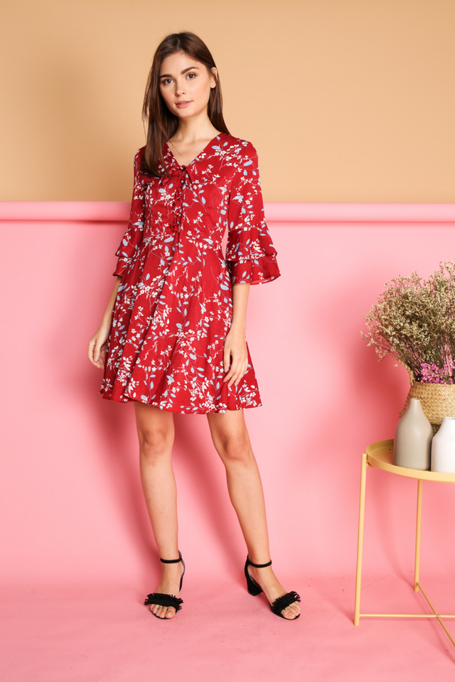Agustin Leaf Printed Dress in Red