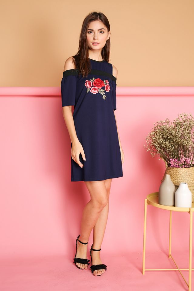 Tisa Rose Patch Cold Shoulder Dress in Navy