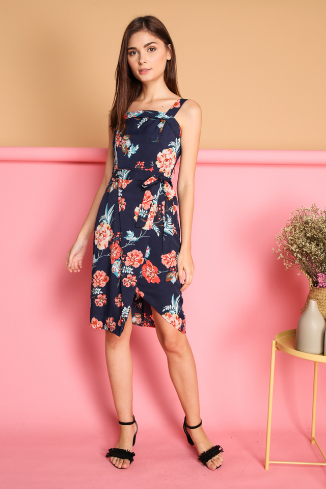 Cira Floral Tie Waist Wrap Dress in Navy