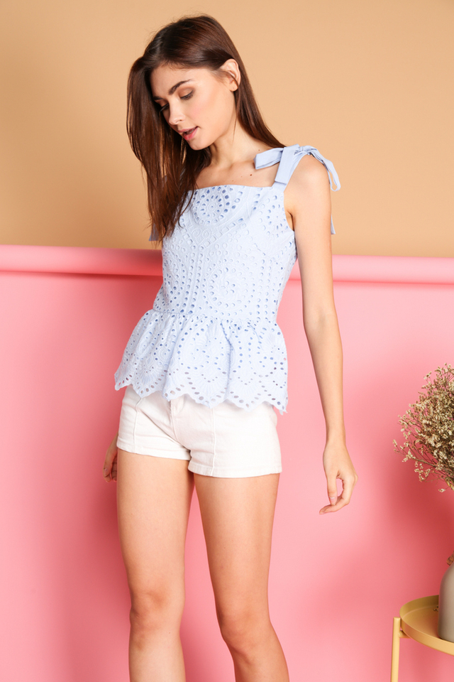*BACKORDER* Julian Eyelet Babydoll Top in Blue