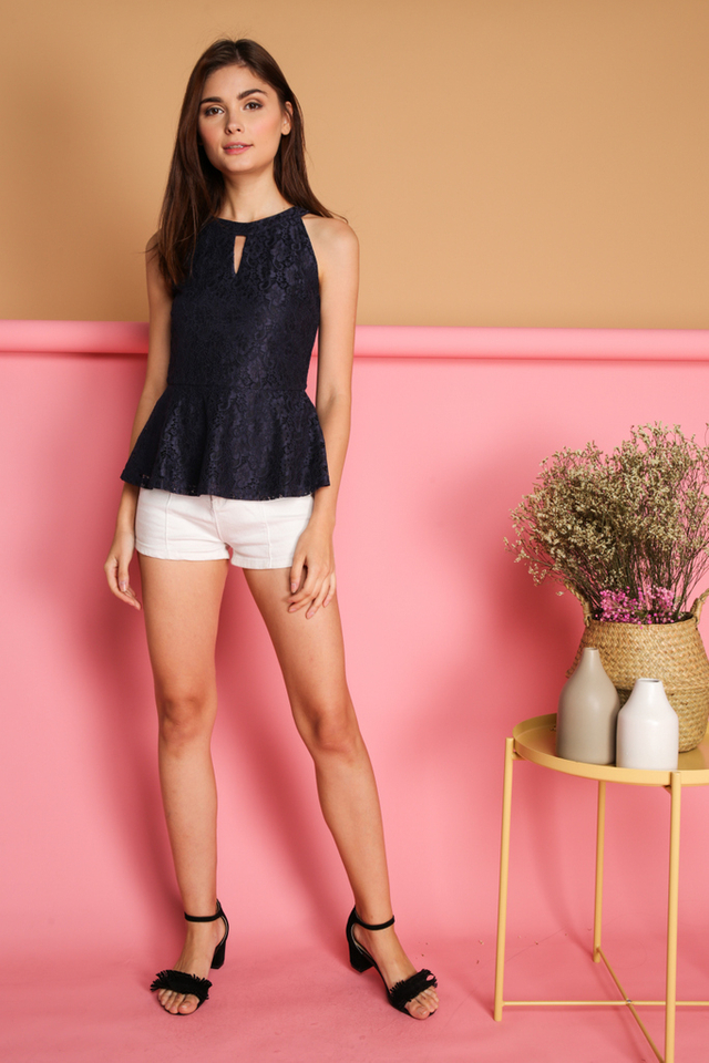 Micaela Keyhole Lace Peplum Top in Navy