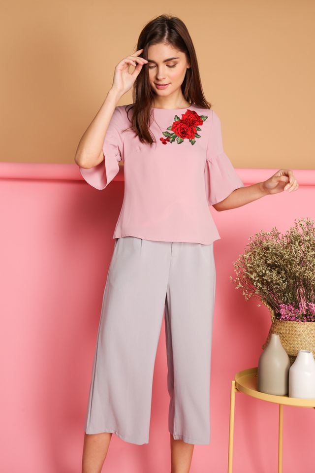 Celia Rose Patch Flounce Sleeve Top in Pink